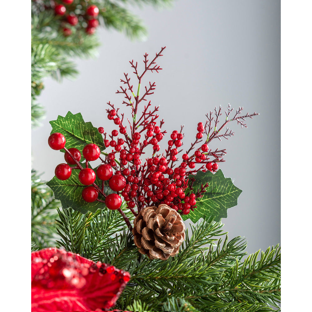 Artificial Pinecone Berries Pick Christmas Tree Decoration, Red, 20 cm