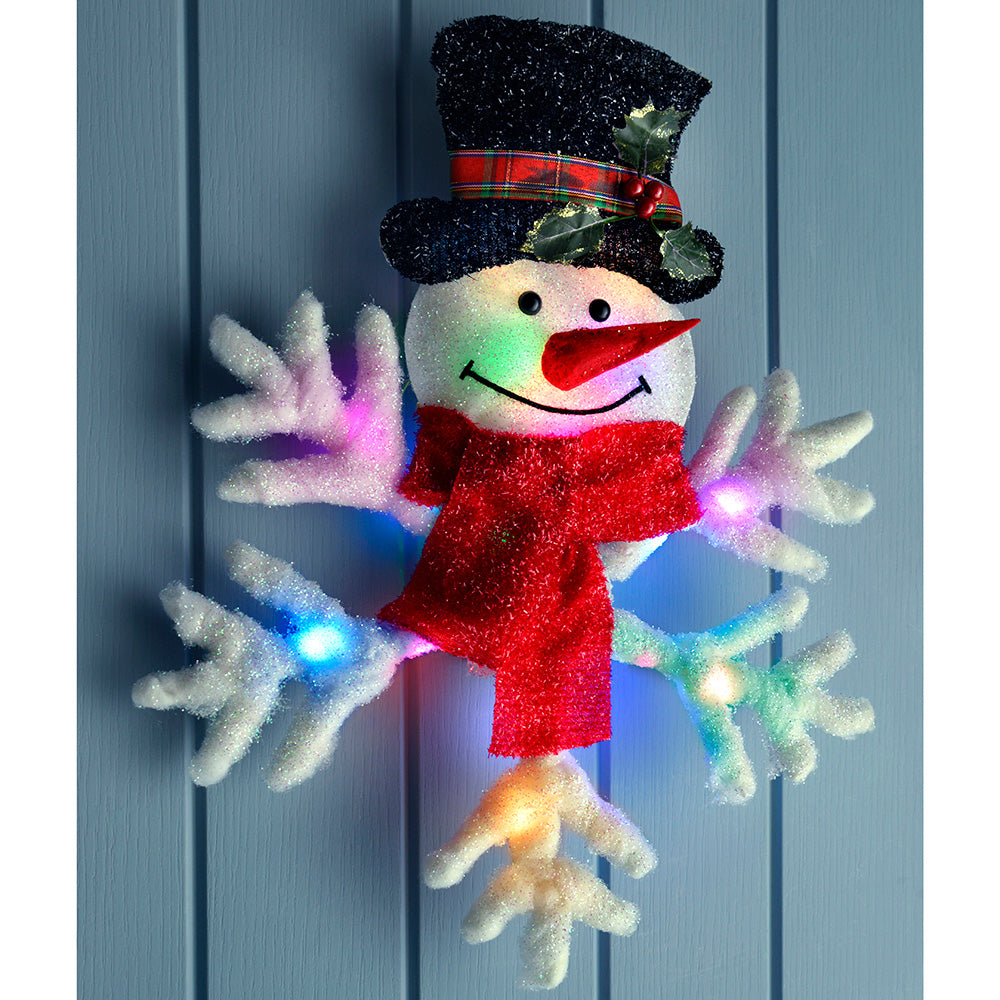 50 cm PreLit Snowman and Snowflake with 18 Colour Changing Flashing LED Lights