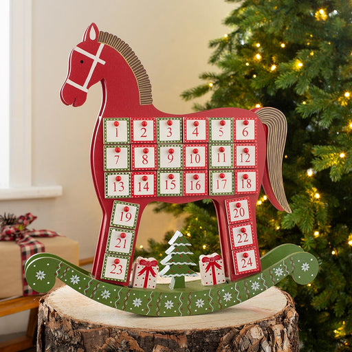 Wooden Rocking Horse Christmas Advent Calender 42 cm