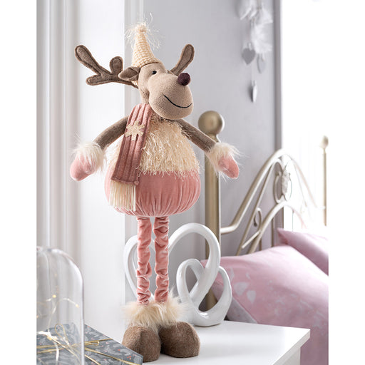 Standing Christmas Reindeer Figurine with Tall Legs 52 cm