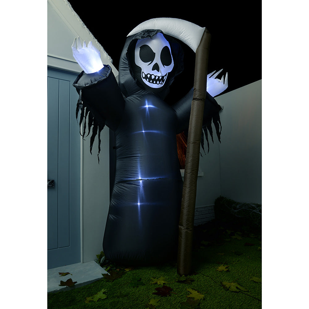 "Large Pre-Lit ""Grim Reaper with Scythe"" Inflatable Halloween Decoration with LED Lights and Fan"