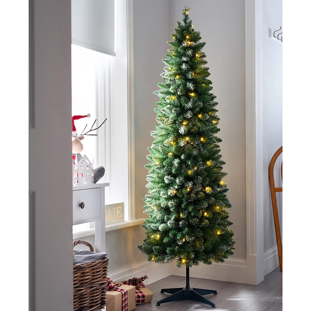Pre-Lit Pop Up Frosted Bullet Tip Christmas Tree with 100 Warm White LED Lights