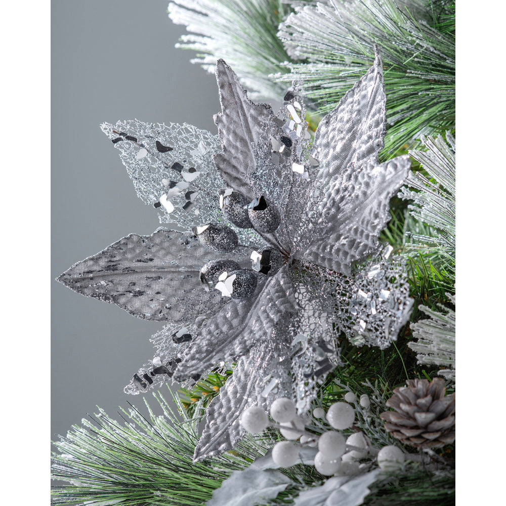 Artificial Poinsettia Christmas Tree Flower Decoration, Silver, 29 cm