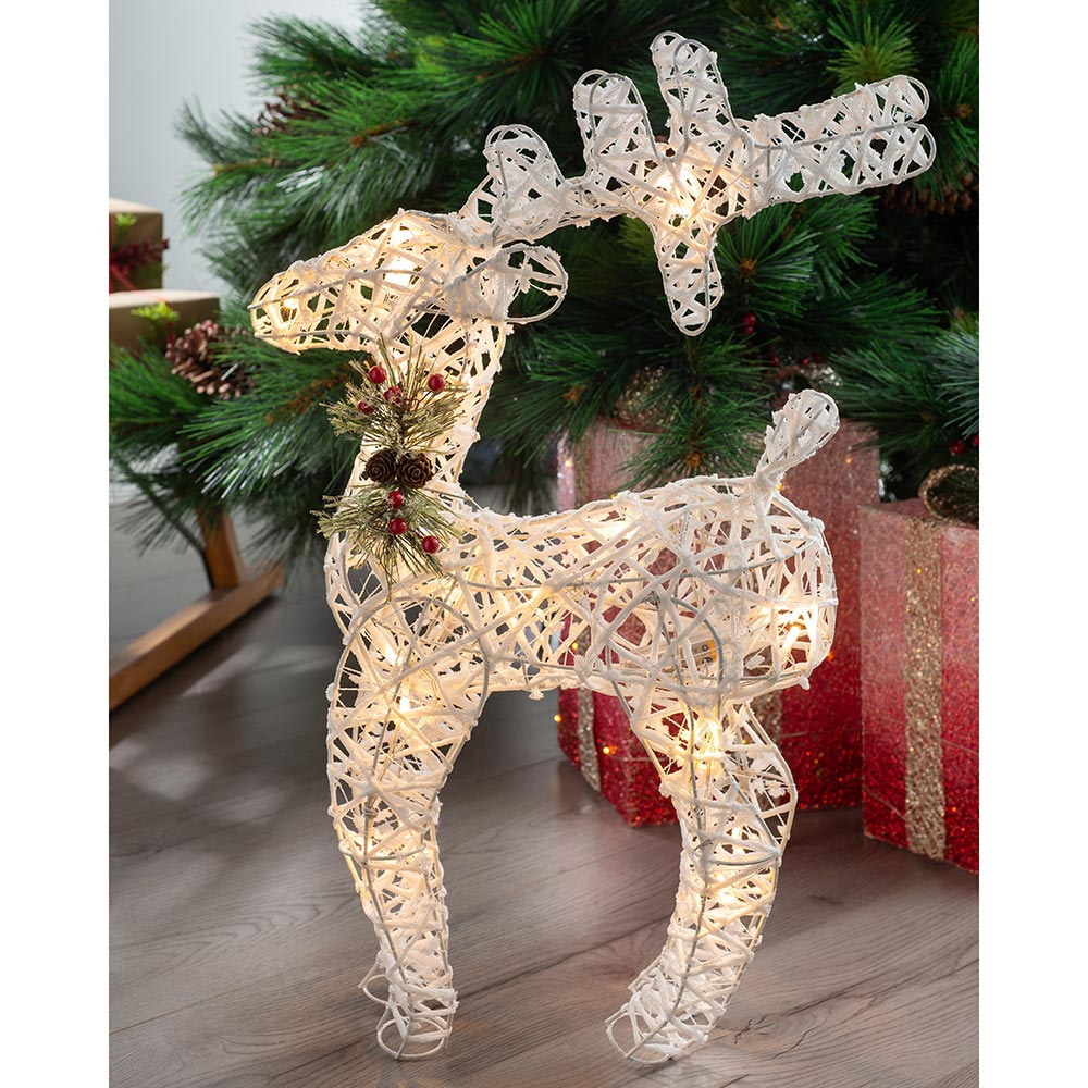 Reindeer Decoration with 20 Warm LED Lights 61 cm