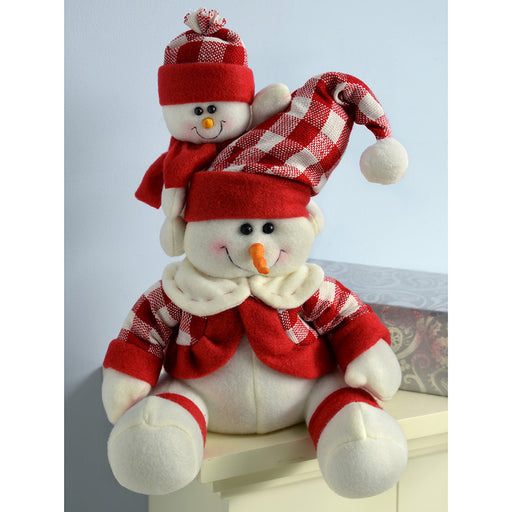 Sitting Snowmen Christmas Table Decoration, 25 cm - Red/White Tartan