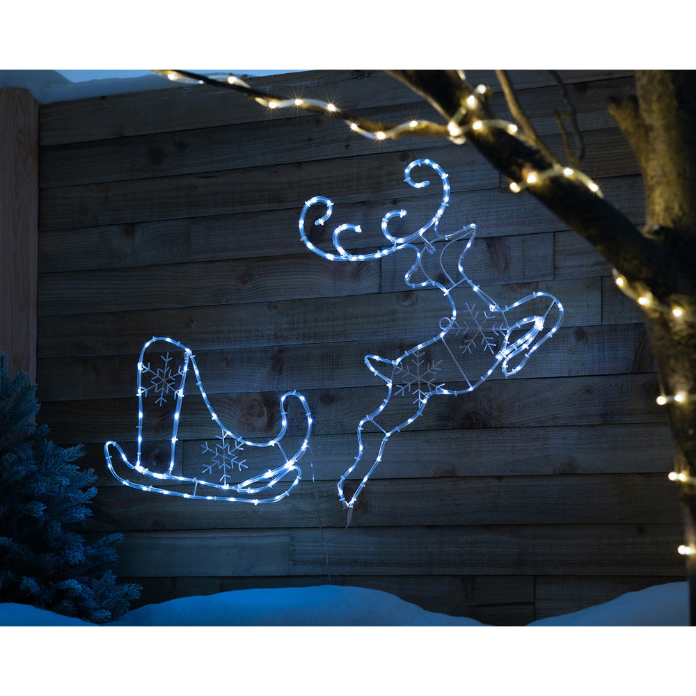 2D Running Reindeer with Santa Sleigh, Double-Sided Rope Light Silhouette, Bright White LEDs