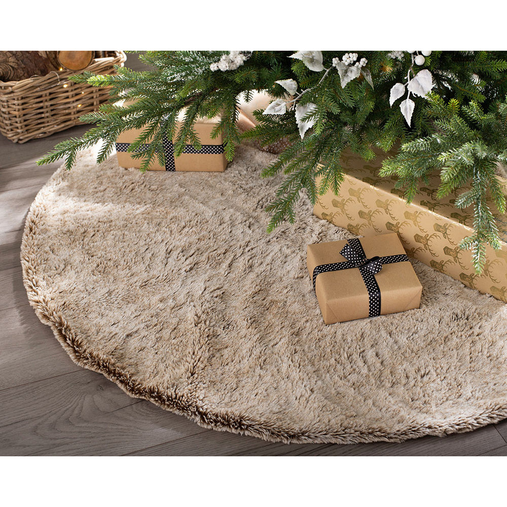 "48"" Two Colour Tones Brown Fur Tree Skirt"