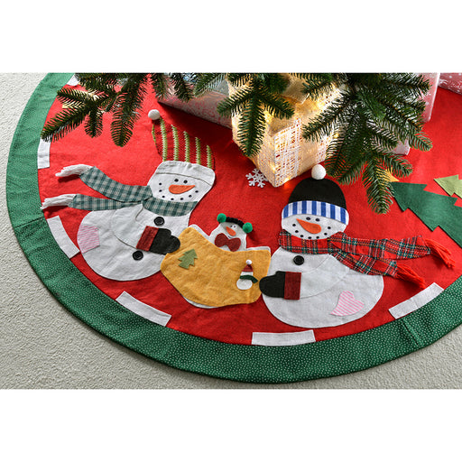 Snowman Family Christmas Tree Skirt Decoration, 120 cm - Large, Multi-Colour