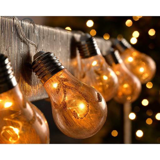 10 Golden Light Bulb String Christmas Lights with 20-Warm White LED - Gold