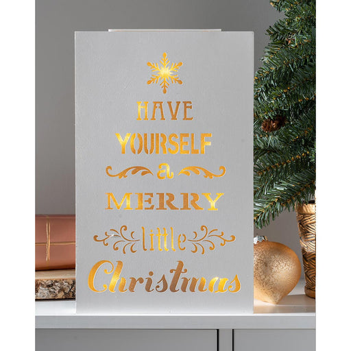 Have yourself a Merry little Christmas Wooden Sign with 10 Warm LED Lights 31 cm