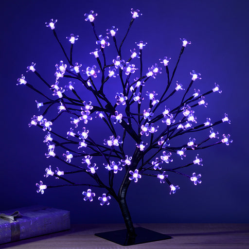 Pre-Lit Colour Controlled Cherry Blossom Tree with 96-LED, 2 ft/60 cm - Multi-Colour