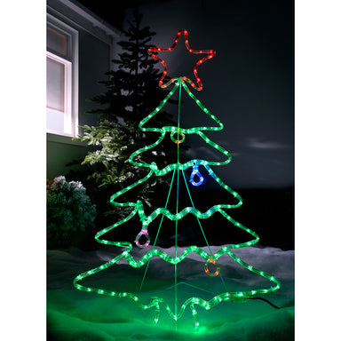 Pre-Lit Christmas Tree Rope Light Silhouette, 114 cm - Multi-Colour, Large