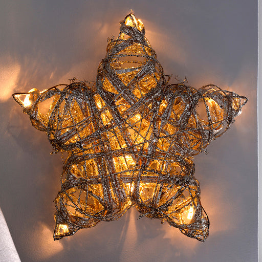 Pre-Lit Silver Woven Rattan Warm White LED Star Decoration with Dusting of Glitter, 28 cm