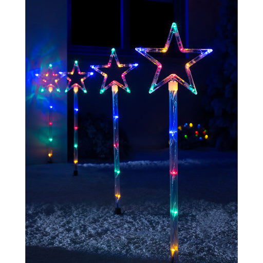 Connectable Star Pathway Lights, Set of 4, Multi Colour