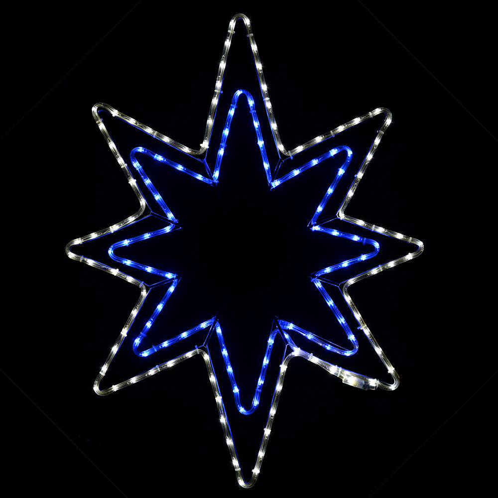 Star LED Rope Light Christmas Silhouette Decoration, 95 cm - Large, Blue/White