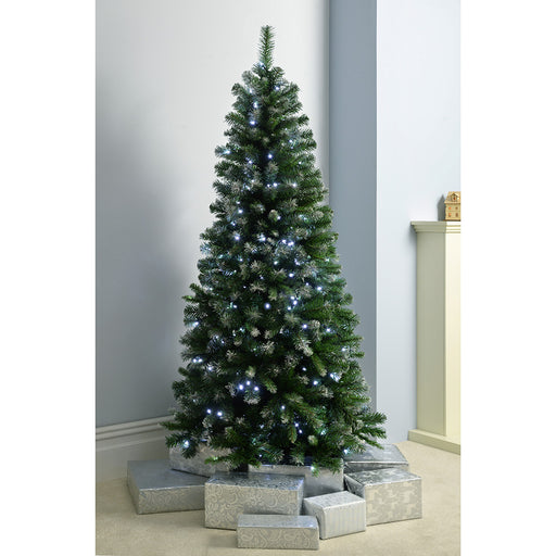 Pre-Lit Slim Frosted Christmas Tree with 200 White LED Lights 6 ft/1.8 m