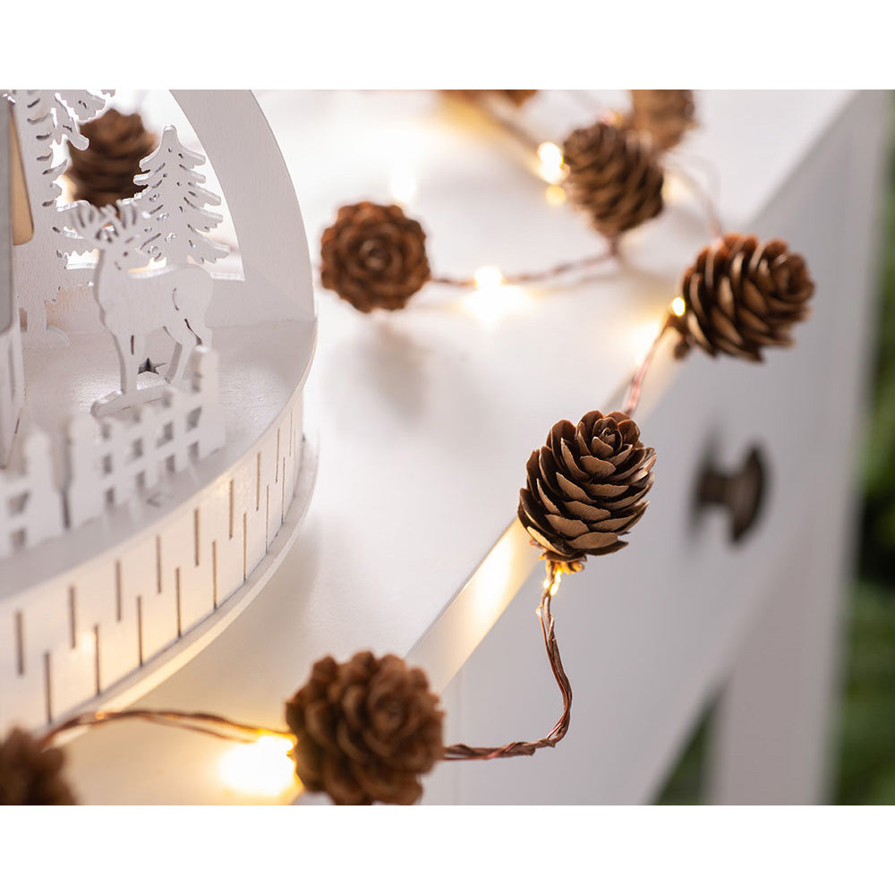 Christmas Pinecone Light String Decoration, 20 Warm White LED Lights, 1.8 m Rope