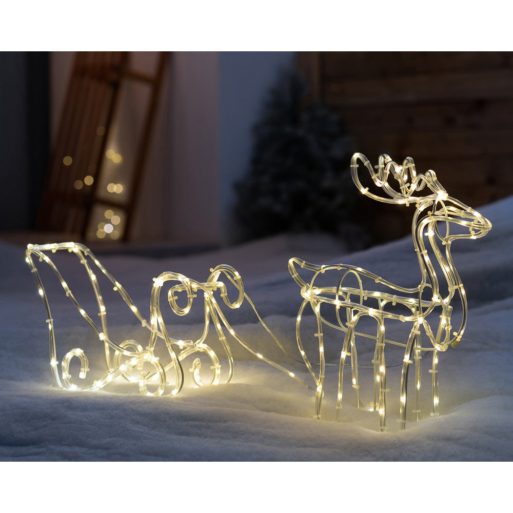 3D Metal Reindeer Silhouette Christmas Decoration with Sled Rope Light, Warm White LEDs