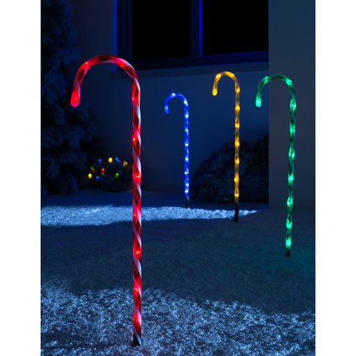 Connectable Coloured Candy Cane Pathway Lights, Set of 4, Multi-colour