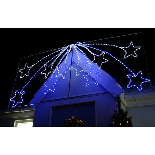 220 cm Large Animated LED Star Burst Display with Controller Rope Light Silhouette Christmas Decoration, Blue/White