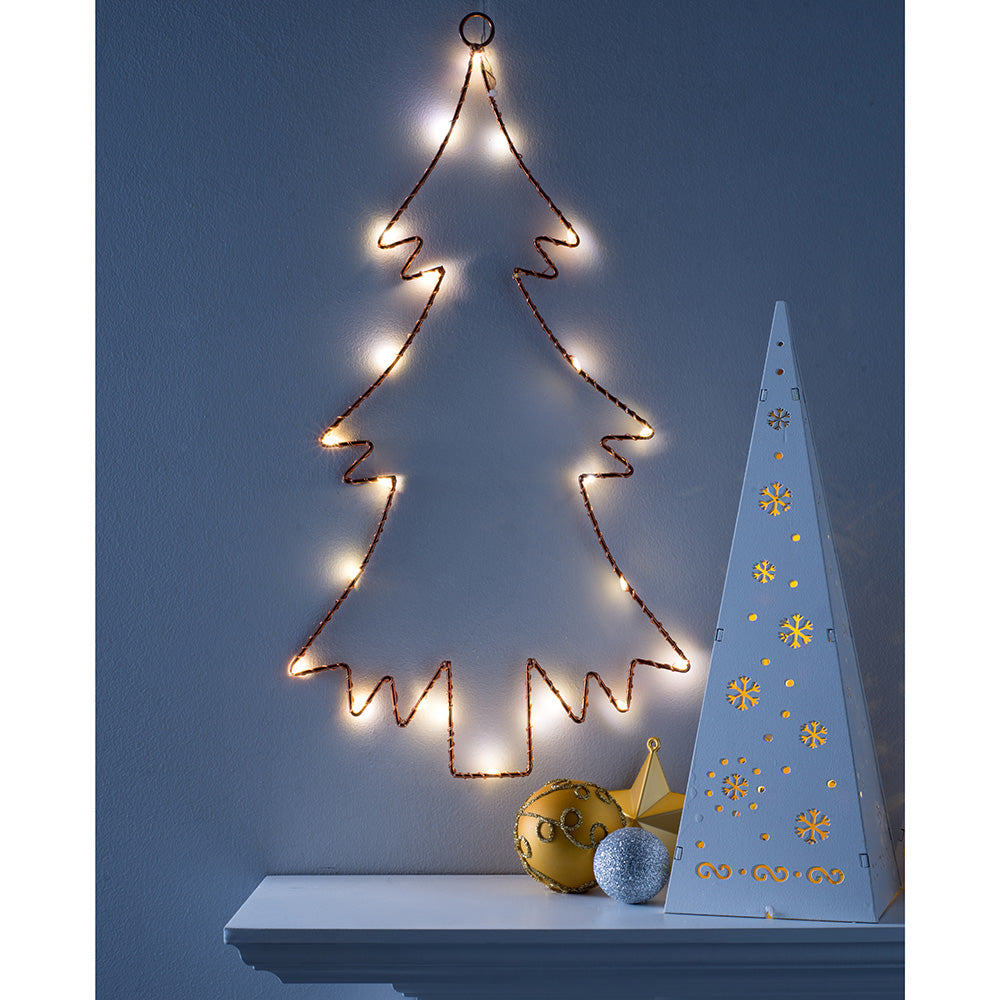 2D Wire Christmas Tree Copper Decoration, LED Light, 42cm