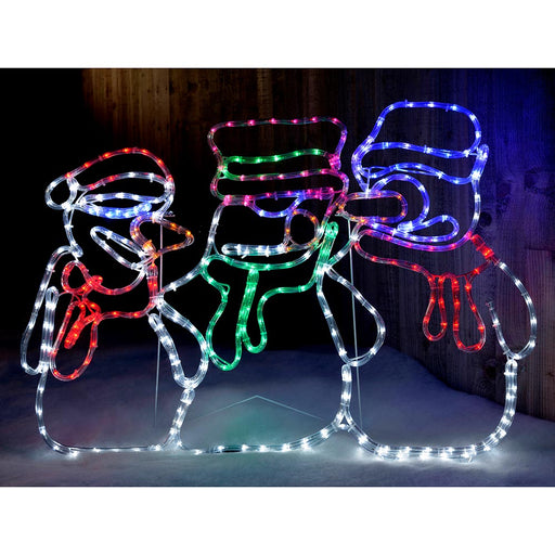 Animated Snowman LED Rope Lights Silhouette Outdoor Christmas Decoration - 105cm