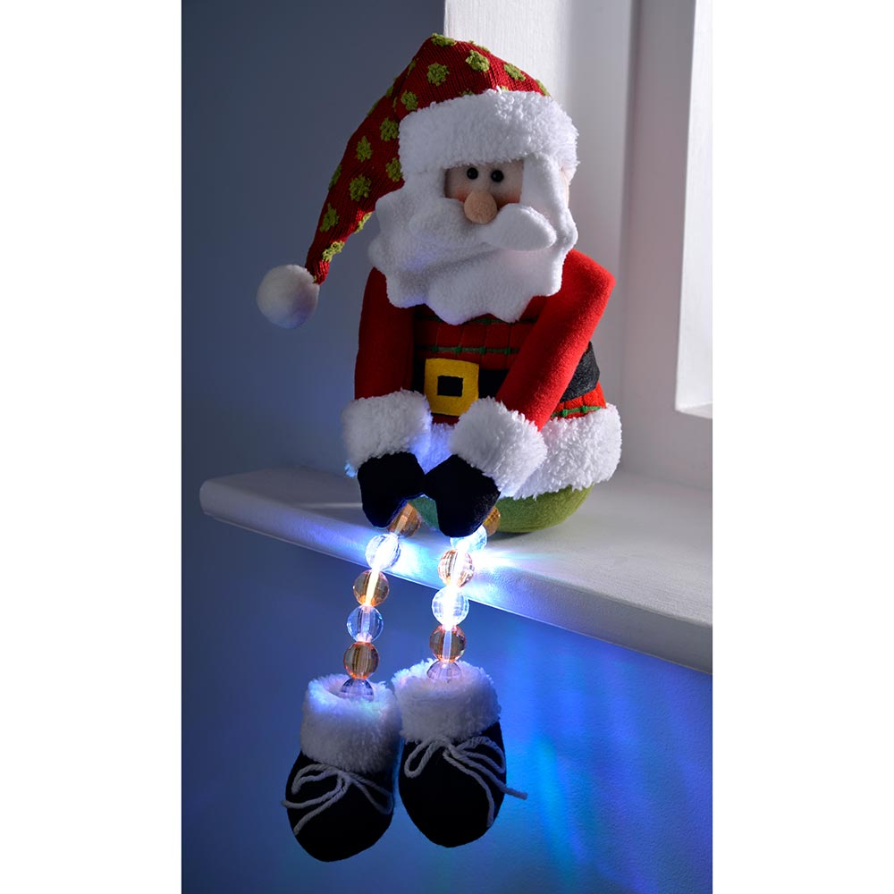 Pre-Lit Novelty Sitting Character with LED Light Up Body and Legs Christmas Decoration, 50 cm