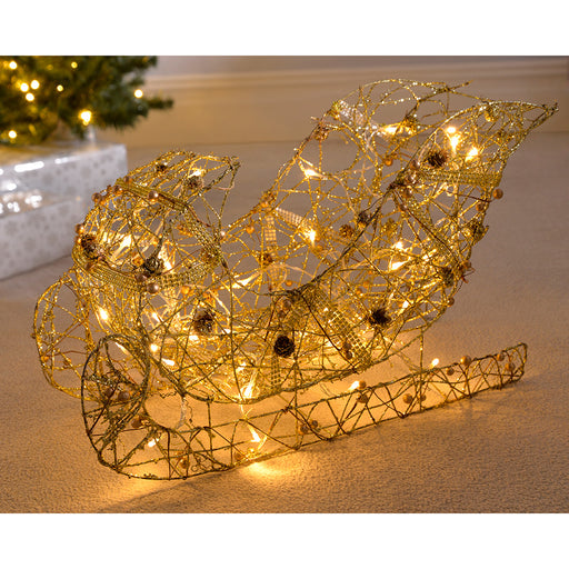 Pre-Lit Rattan Sleigh, Warm White LED with Beads and Pinecones, 60 cm - Gold