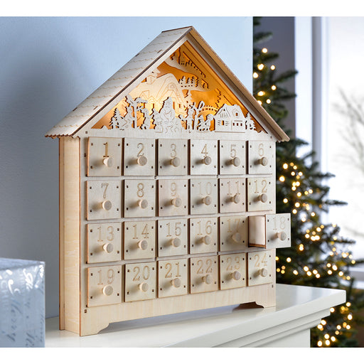 Pre-Lit Wooden Village Scene Advent Calendar Christmas Decoration, 36 cm