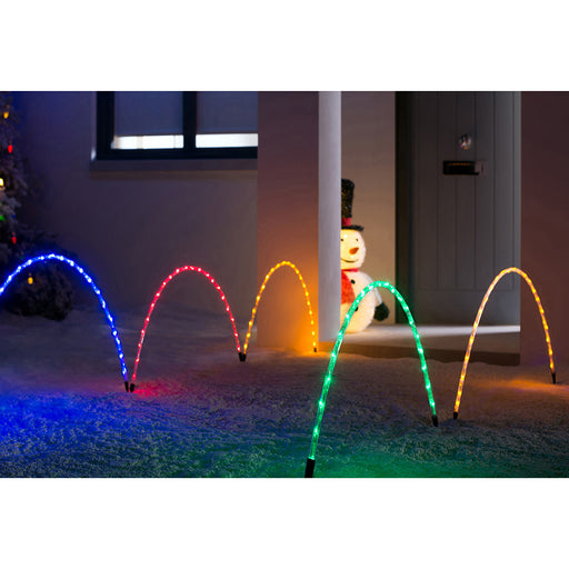 Arch Pathway Chasing Christmas 160 LED Lights, Set of 8, Multi Colour
