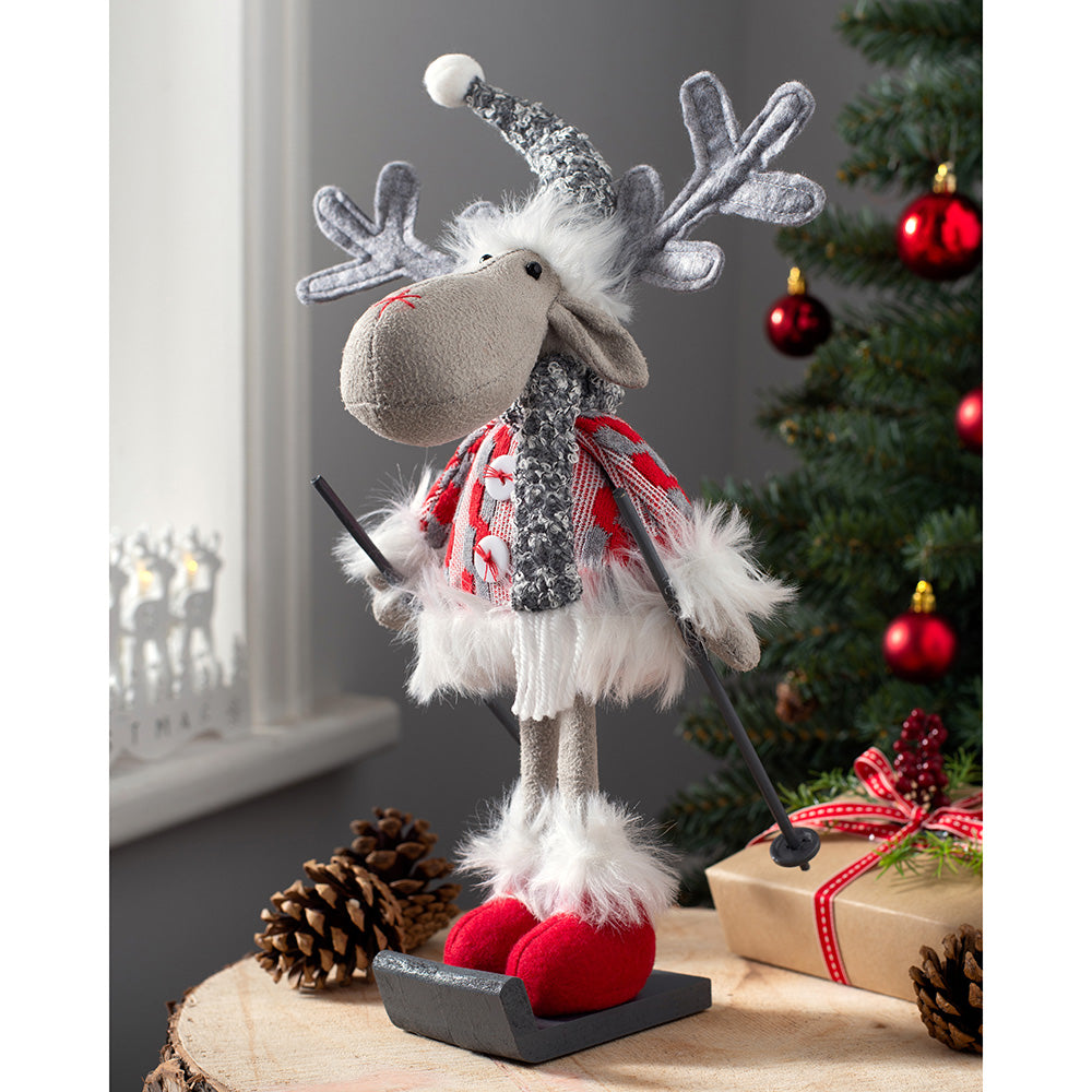 Skiing Christmas Reindeer Figurine, Red and Grey, 30 cm