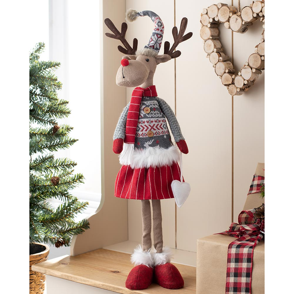 Standing Christmas Reindeer Figurine, Red and Grey, 60 cm