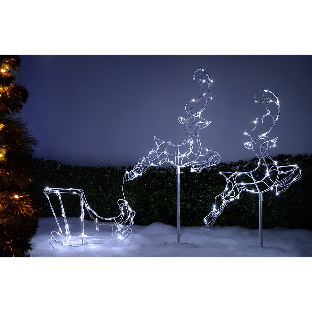 Flying Reindeer Sleigh Silhouette with 120 LED Lights, 300 cm - White, Large