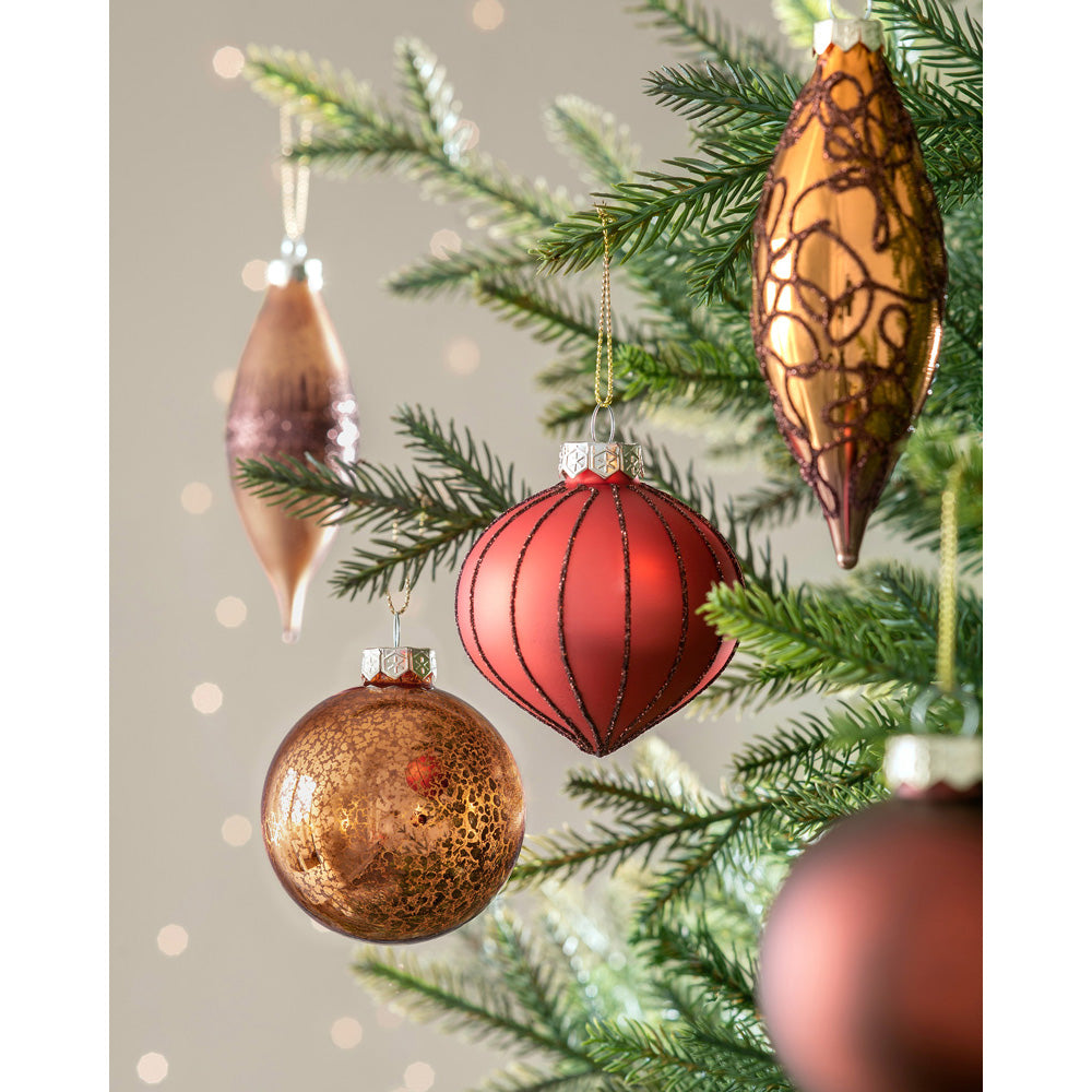 Glass Christmas Tree Bauble Pack, Set of 20
