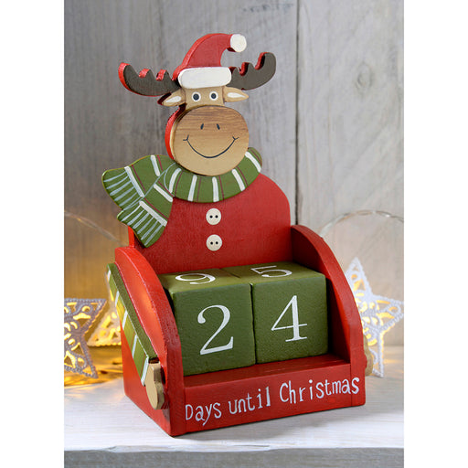 Wooden Reindeer Advent Calendar Christmas Decoration, 16 cm - Multi-Colour