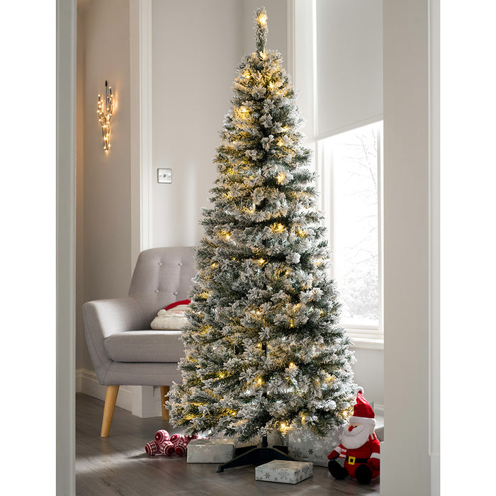 Pop Up Christmas Tree.Pre Decorated Flocked Popup Christmas Tree 100 Warm White Leds 6 Feet 1 8 M