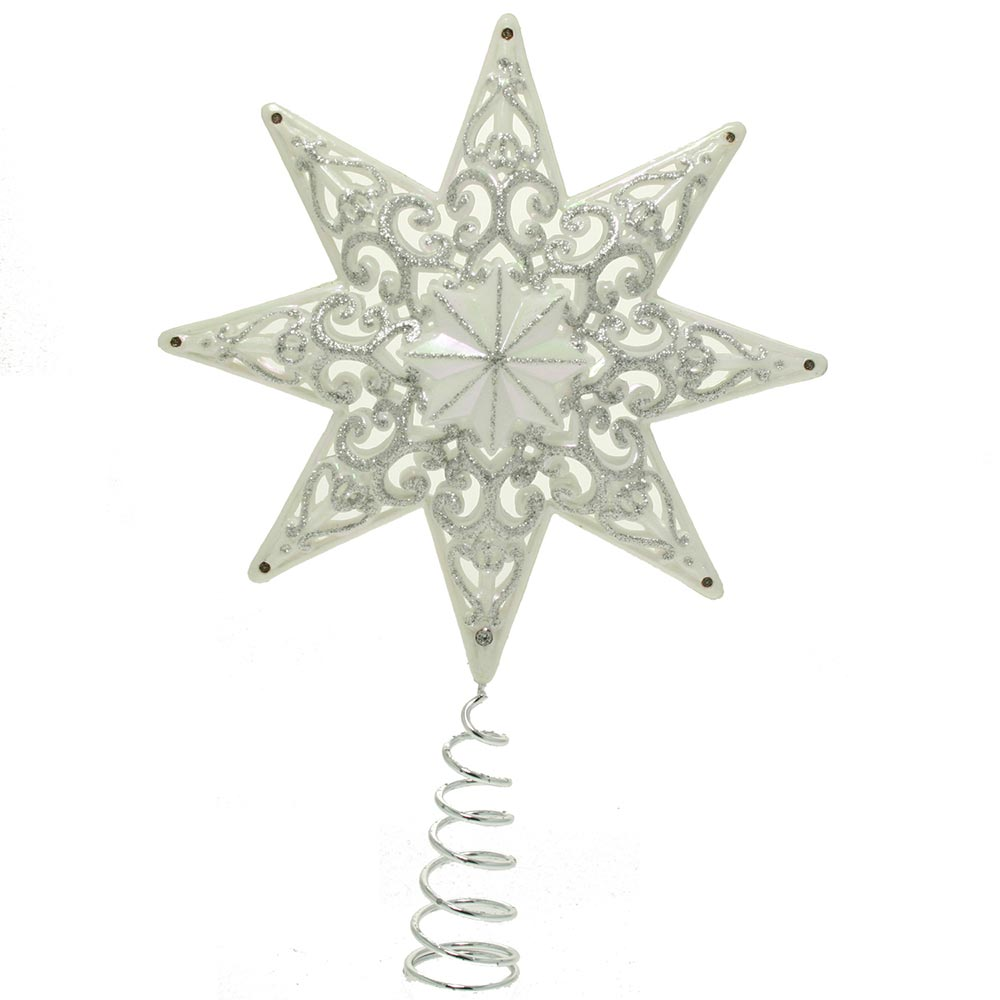 Shatterproof Deluxe Christmas Tree Top Star with Glitter, 21 cm