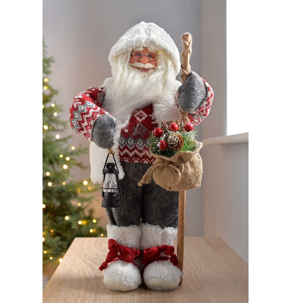 Standing Santa with Knitted Outfit Christmas Decoration, 47 cm - Grey/Red