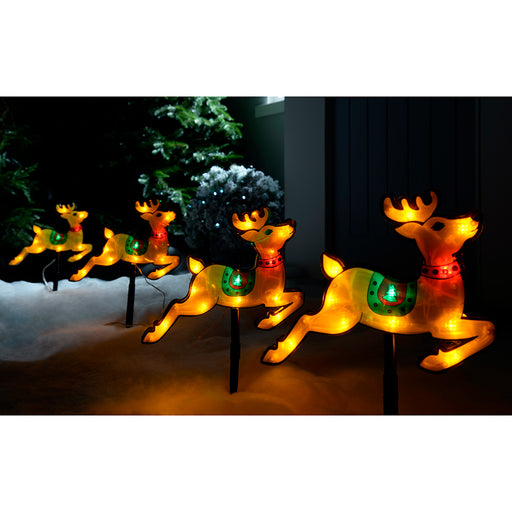 Pre-Lit LED Reindeer Silhouette Pathway Lights - Multi-Colour, Set of 4
