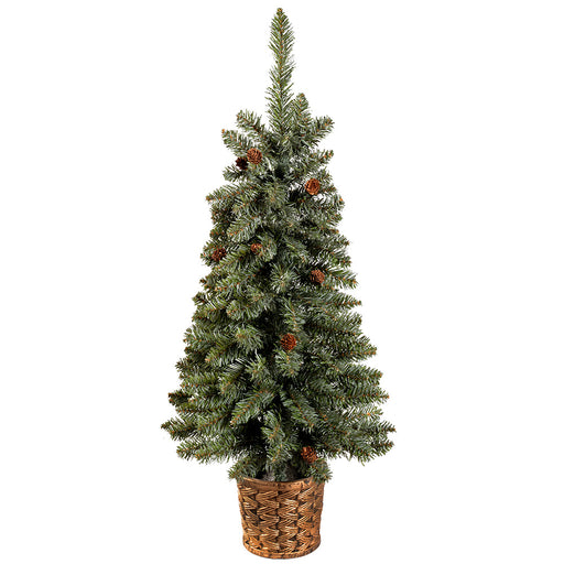 3 ft Craford Blue Pine Christmas Tree with Mini Pine Cones in a Gold Resin Pot