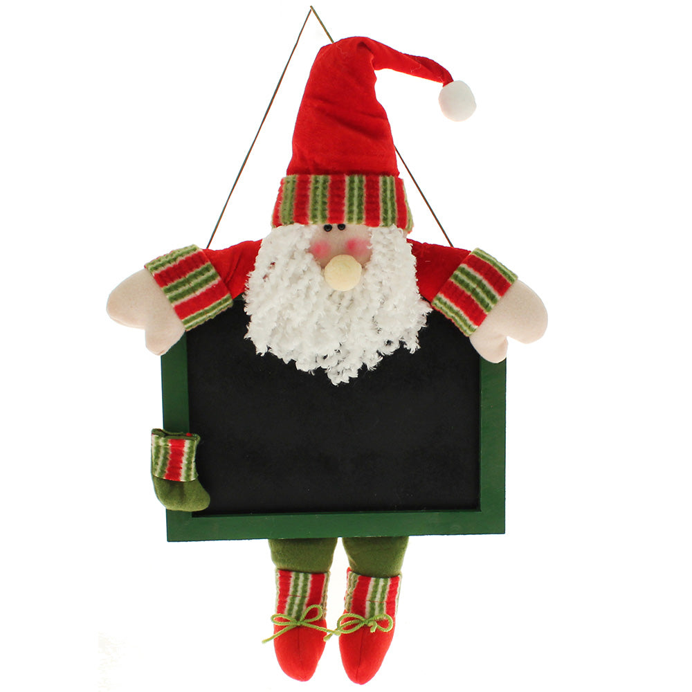 33 cm Hanging Father Christmas with Chalkboard for Messages/ Reminders