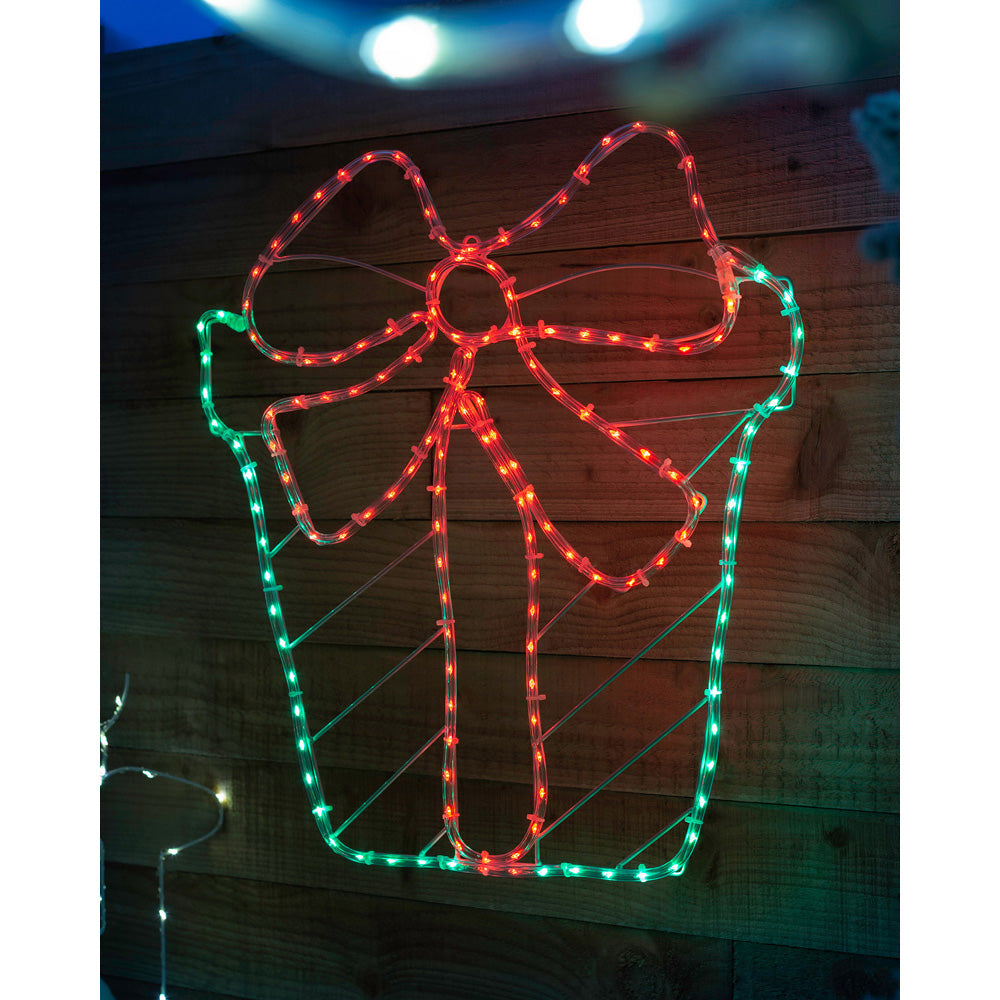 Christmas Giftbox Rope Light Silhouette Decoration, 155 LEDs, 50 cm