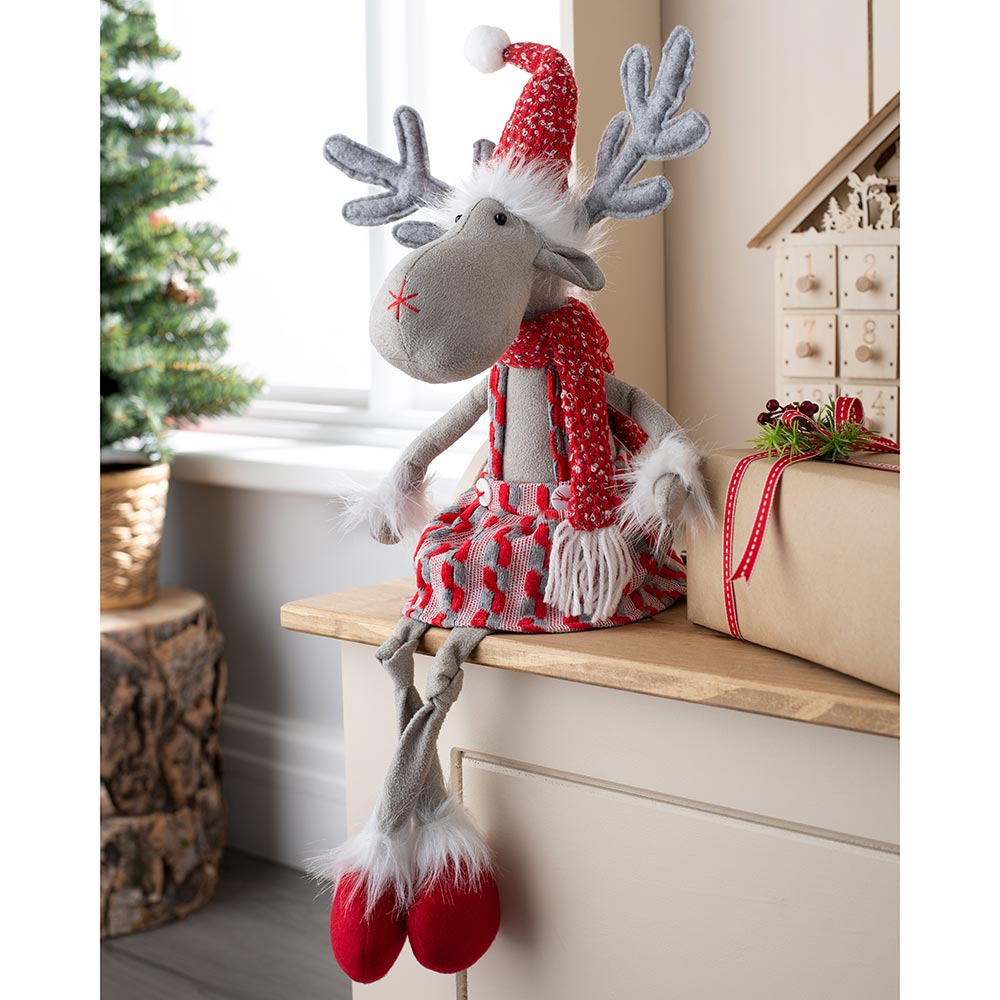 Sitting Christmas Reindeer Figurine with Soft Legs, Red and Grey, 58 cm