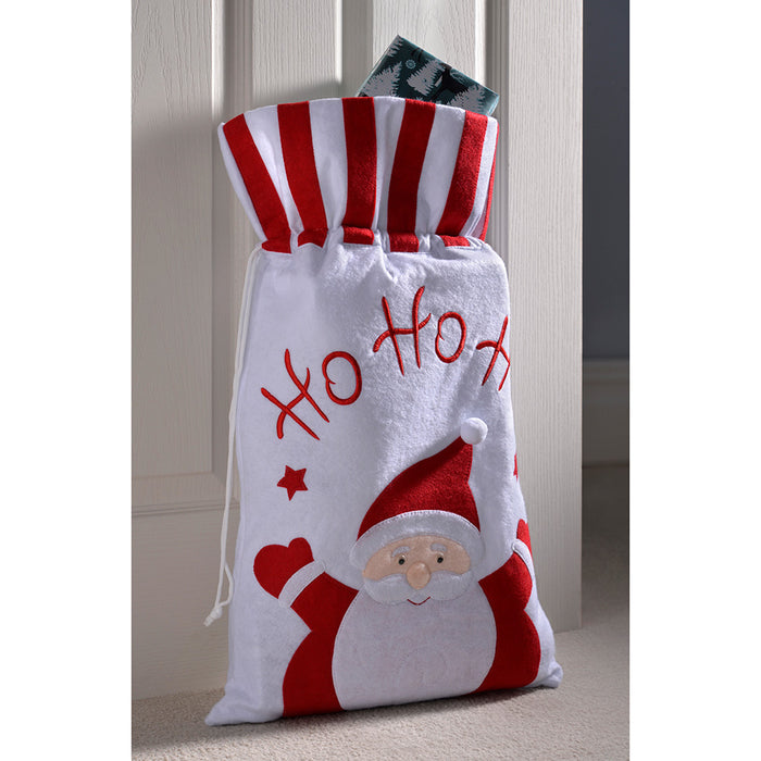 Christmas Gift Present Bag Santa Sack with Santa Ho Ho Ho Design, 63 cm - Red/White