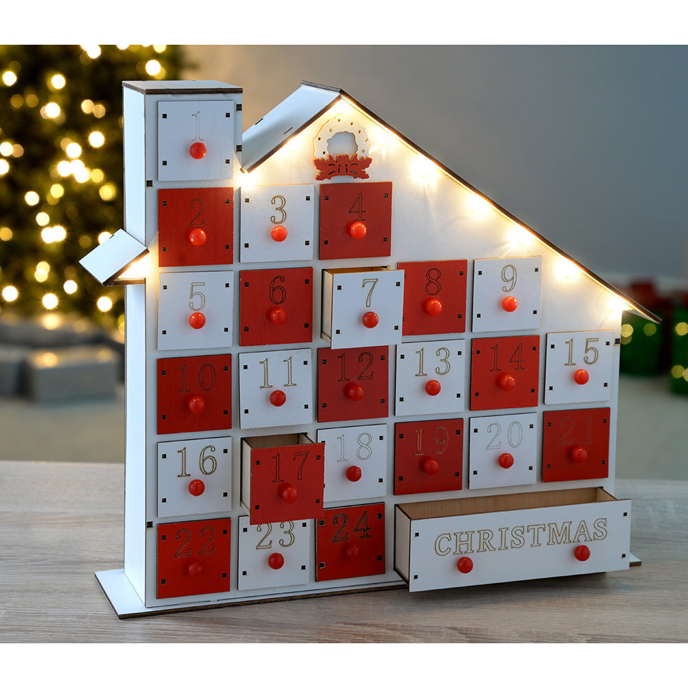 Pre-Lit Wooden House Advent Calendar Decoration Illuminated with Warm White LED Lights, White