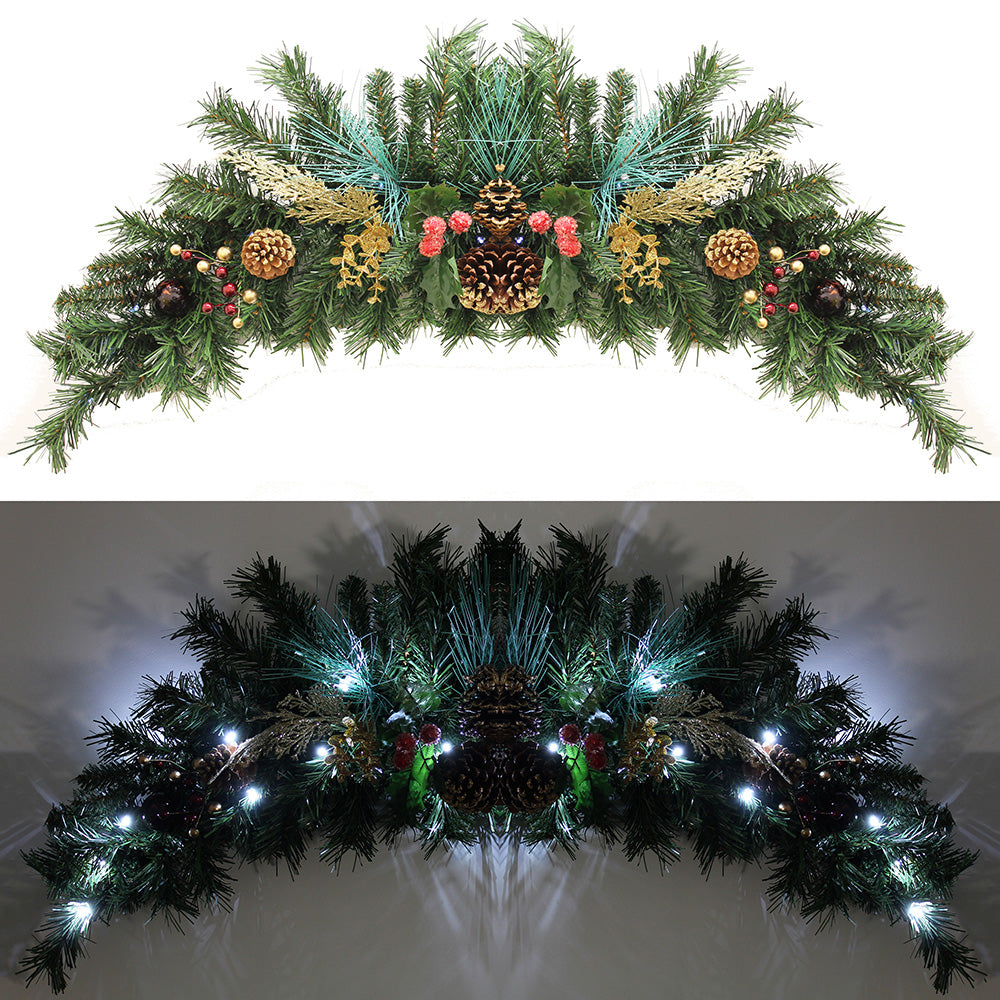 Decorated Arch Garland Pre-Lit  20 Warm White LED Lights with Pine Cones in Red/ Gold