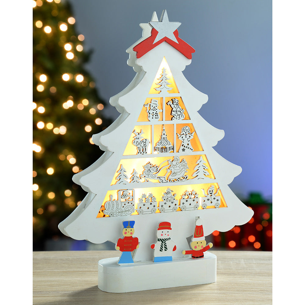 30 cm Pre-Lit Wooden Christmas Tree Decoration with 5 Warm White LED Lights