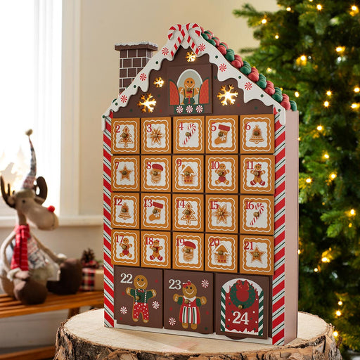Pre-Lit Wooden Gingerbread Advent Calendar 41 cm