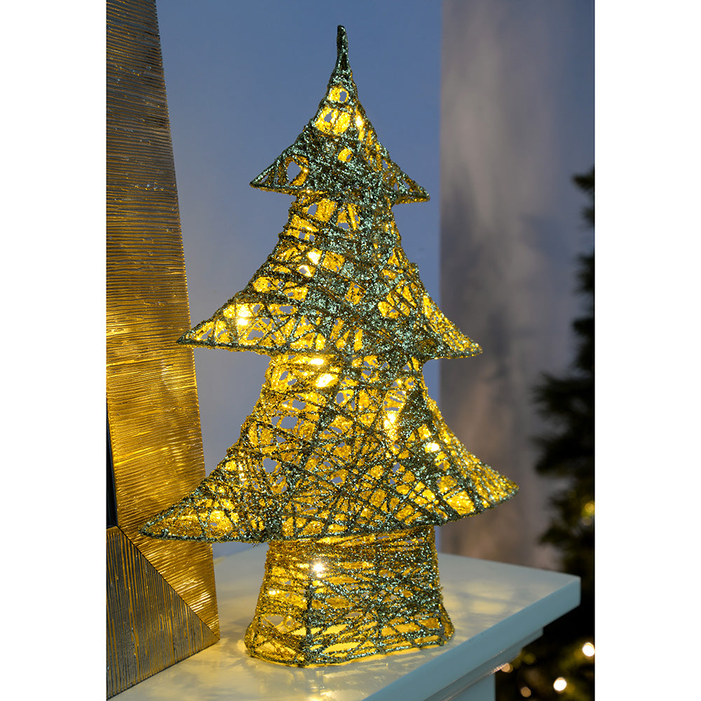 Pre-Lit Gold Christmas Tree Decoration with Cotton Warm White LED Lights, 30 cm