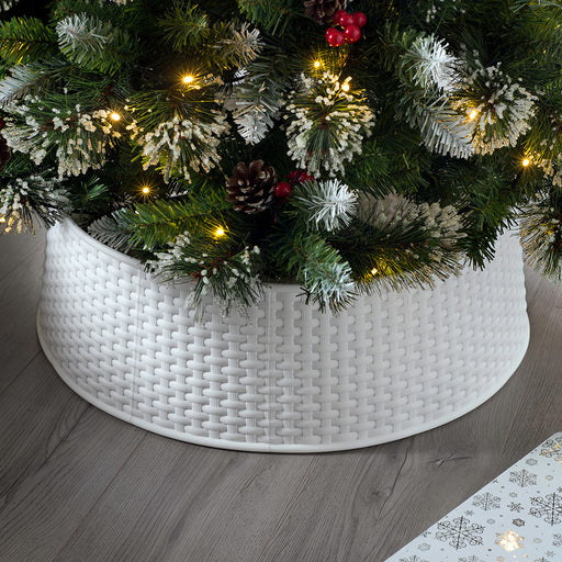 Large Rattan Effect Christmas Tree Skirt, White, 19cm